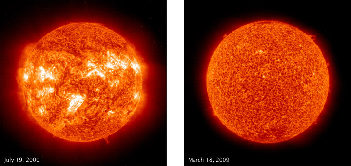 Sunspots at Solar Maximum and Minimum