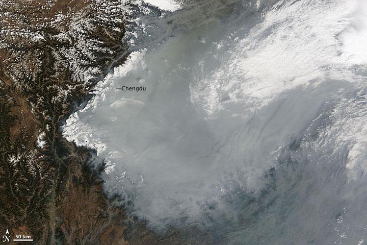 Haze in the Sichuan Basin