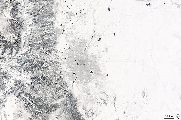 Spring Snow over Denver, Colorado