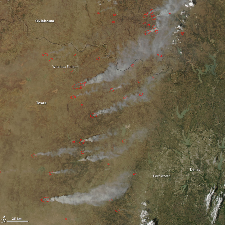 Fires in Texas and Oklahoma