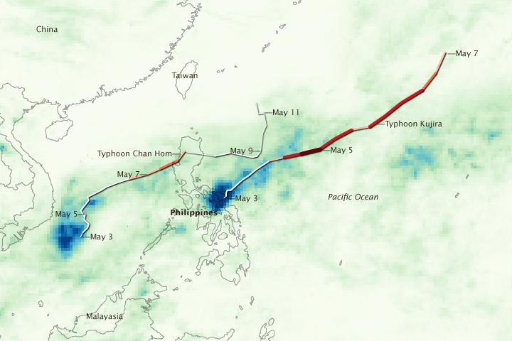 Typhoons Chan Hom and Kujira soak Luzon