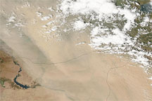 Dust over Iraq, Syria, and Turkey
