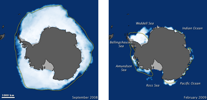 South Pole Sea Ice at 2008 Maximum and 2009 Minimum