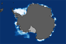 South Pole Sea Ice at 2008 Maximum and 2009 Minimum