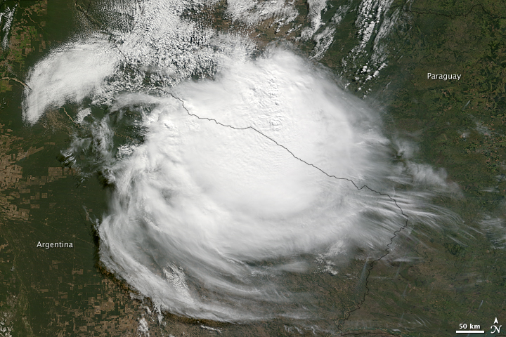 Rare Cyclonic Storm over Nothern Argentina