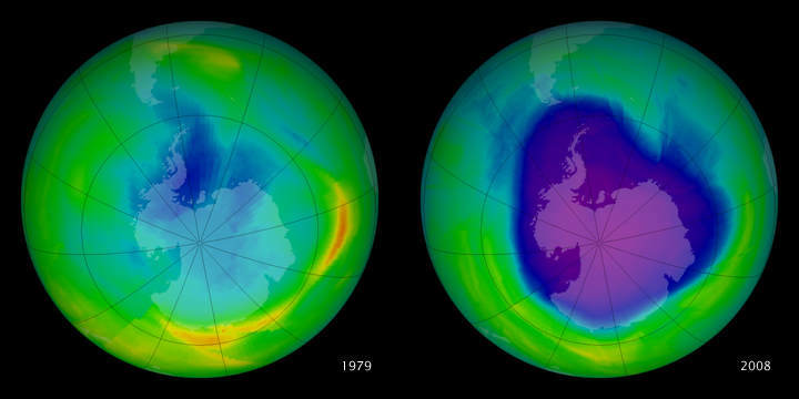 Antarctic Ozone Hole: 1979 to 2008