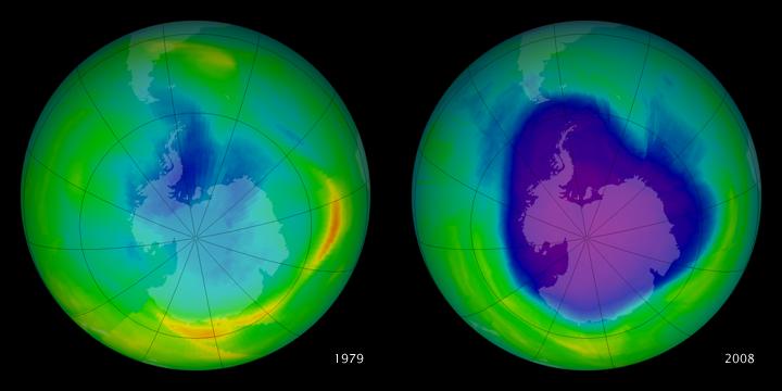 Antarctic Ozone Hole: 1979 to 2008