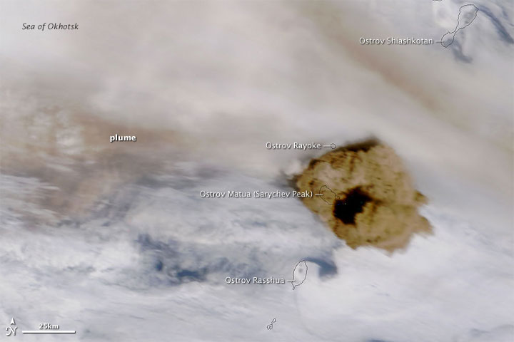 Ash Plumes at Sarychev Peak