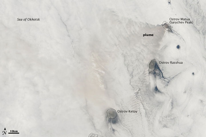 Ash Plume Overlying Clouds at Sarychev Peak