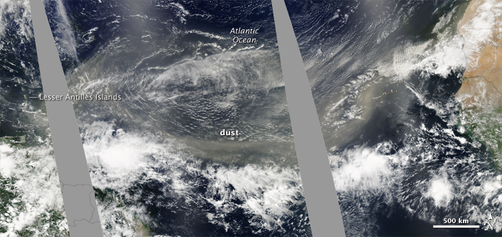 Saharan Dust Reaches Across Atlantic Ocean