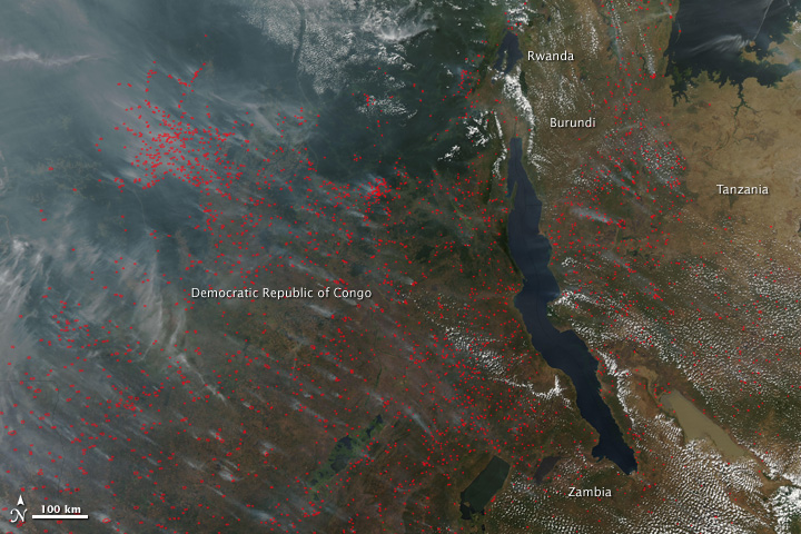 Fires Stretch Across Central Africa
