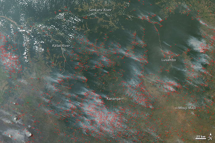 Fires in Kasai Region, Democratic Republic of Congo