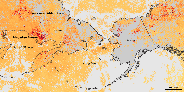 Smoke from Fires in Russia and Alaska