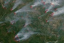 Fires in Magadan Region, Russia's Kolyma Mountains