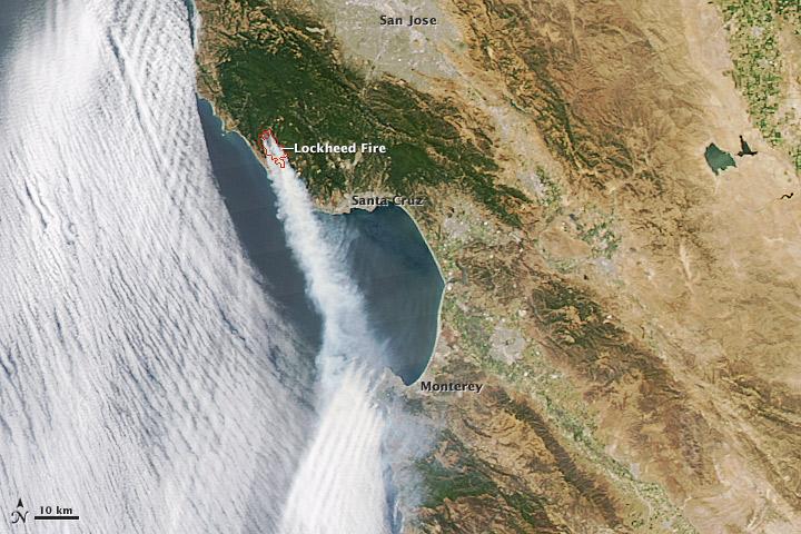 Santa Cruz Mountain Fire Map.Lockheed Fire Santa Cruz Mountains