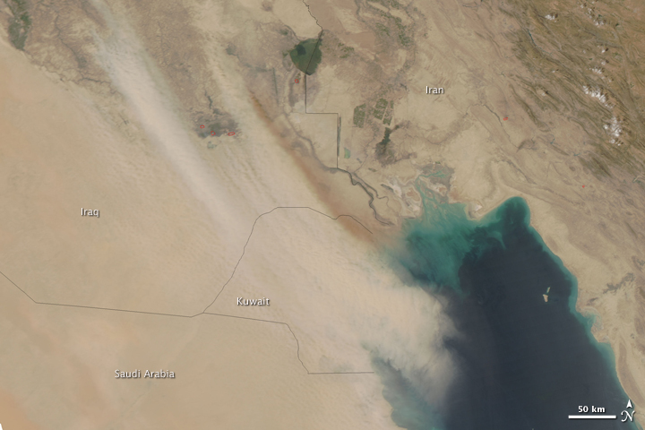 Dust over Iraq and Kuwait