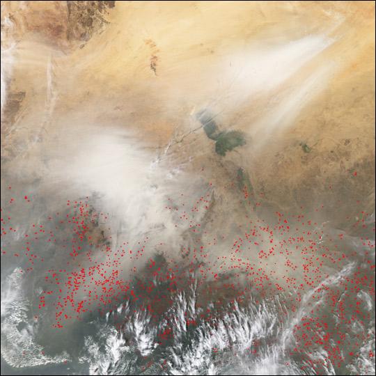 Dust and Smoke near Lake Chad