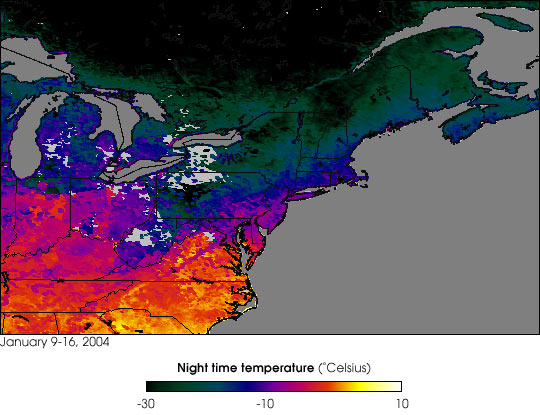 Sub-Zero Temperatures across the Northeast