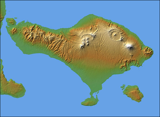 Topography of Bali