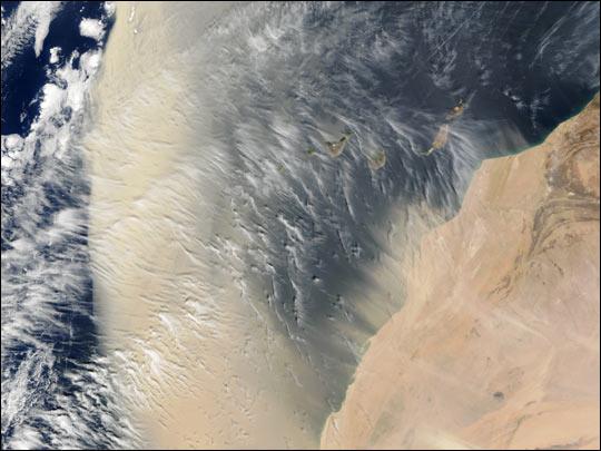 Saharan Dust Sweeps Past Canary Islands