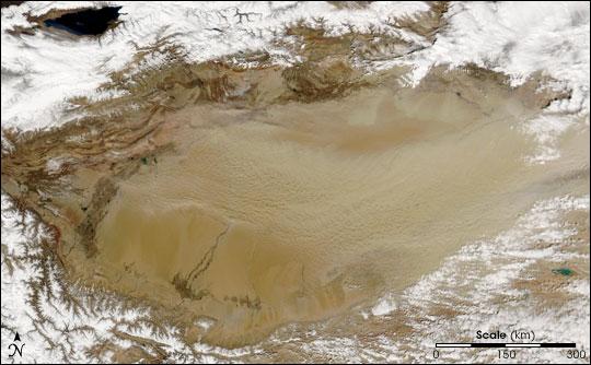 Dust over the Tarim Basin