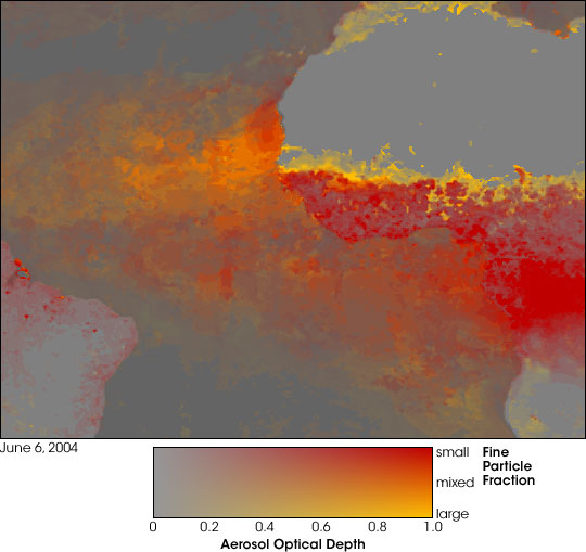 Dust and Smoke off Africa