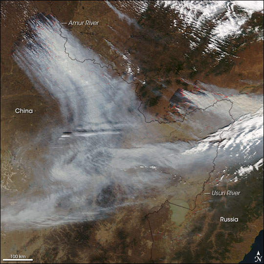 Fires in China and Far-Eastern Russia