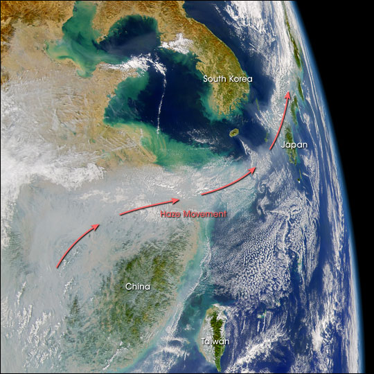 Pollution over China Blows out to Sea