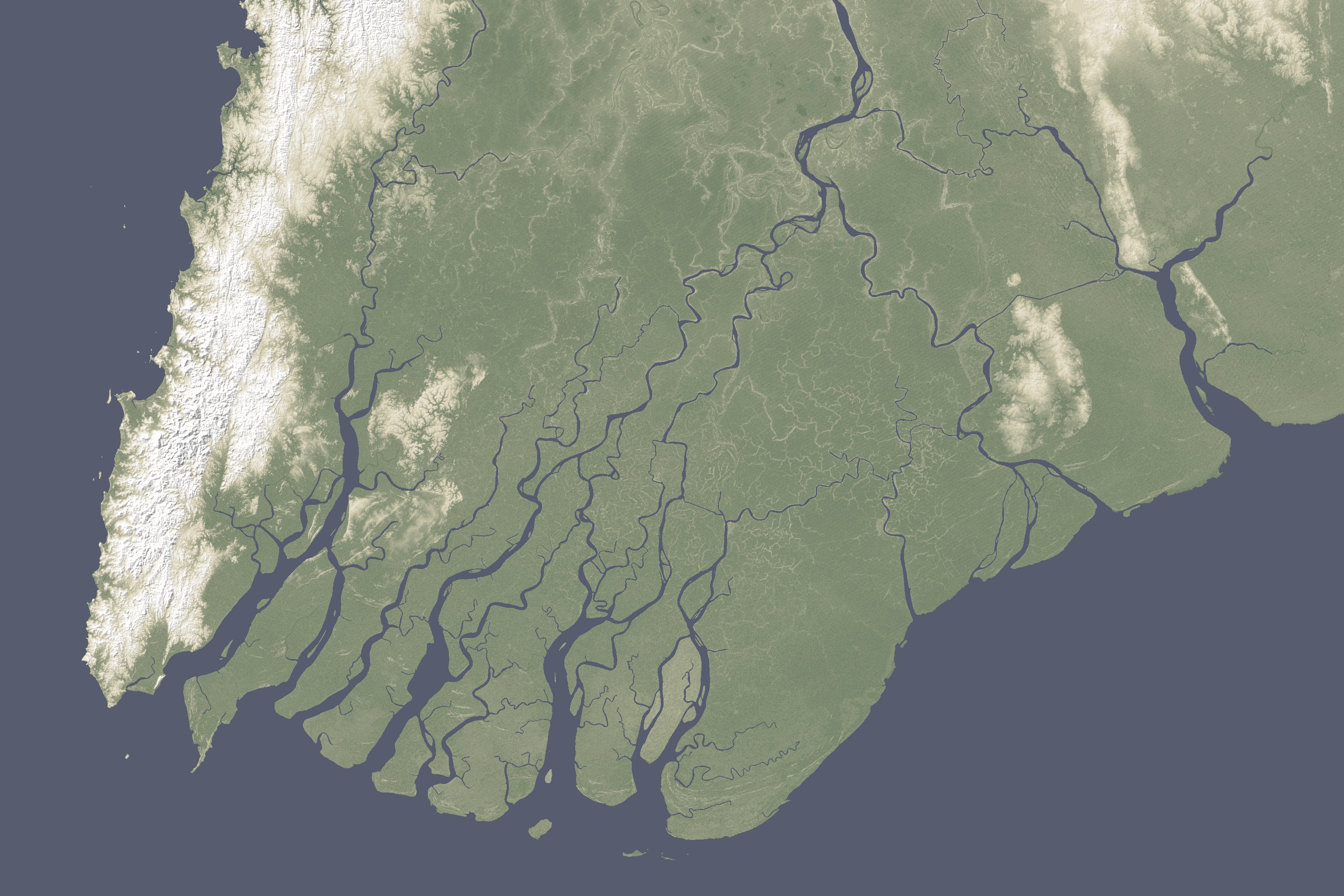 Sinking River Deltas - Irrawaddy River : Image of the Day