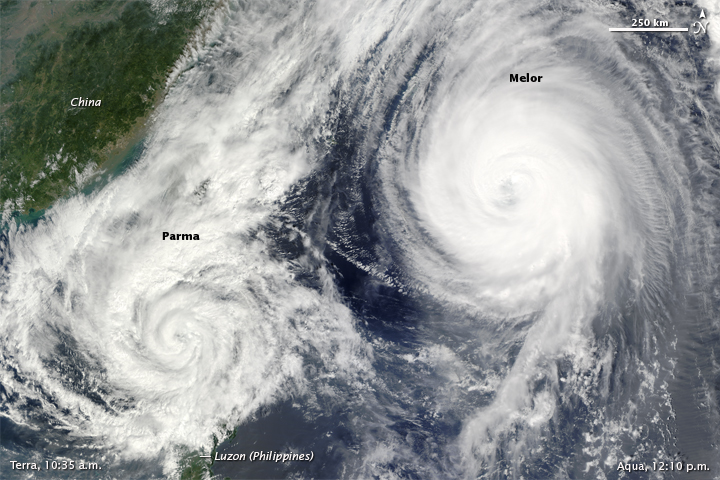 Typhoon Melor and Tropical Storm Parma
