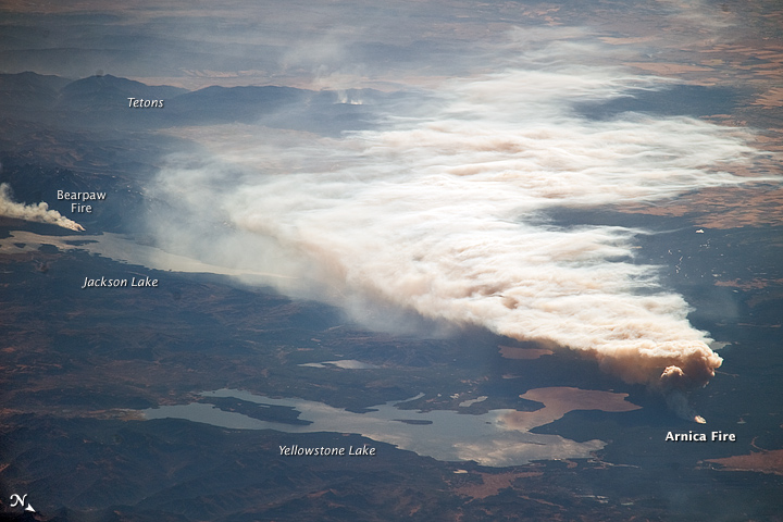 Oblique View of the Arnica Fire, Yellowstone National Park, Wyoming