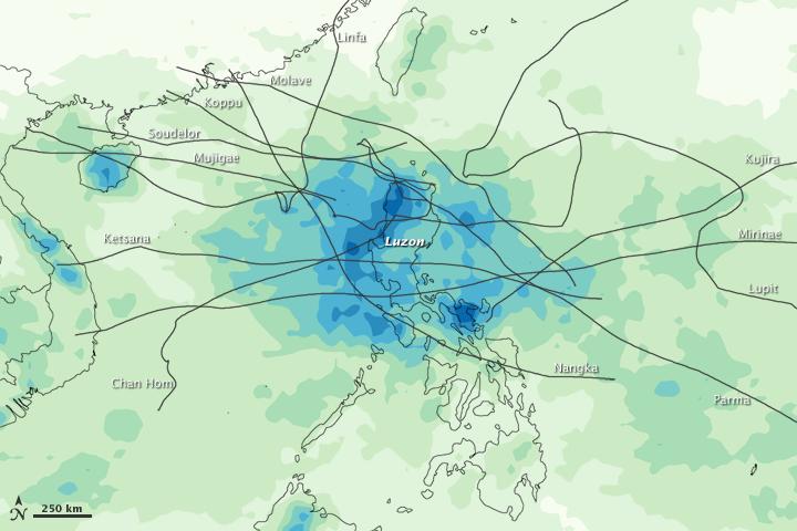 Rainfall from Philippine Typhoons