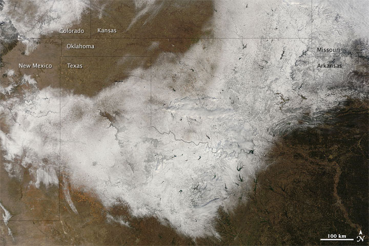 Snow in Southern Central United States