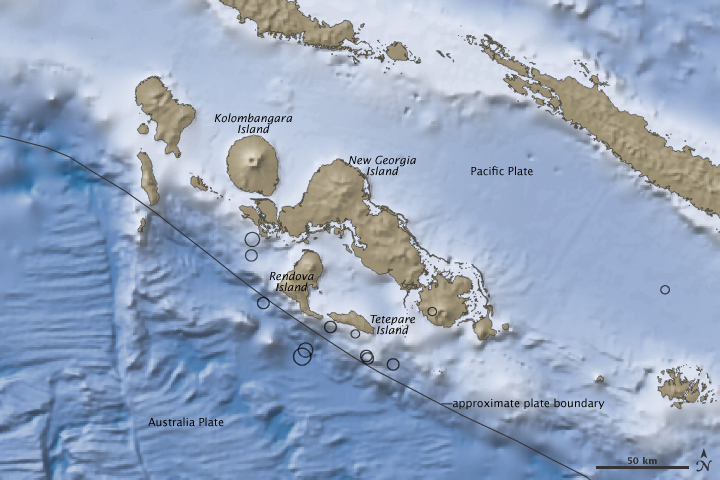 Earthquakes In The Solomon Islands Pacific Ocean Image Of The Day - Pacific ocean depth map