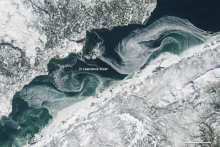 Ice on the St Lawrence River, Canada