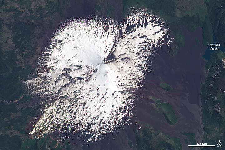 Snow-Capped Llaima Volcano in Springtime
