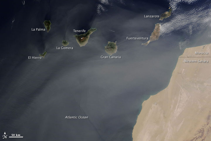 Dust Plumes over the Canary Islands