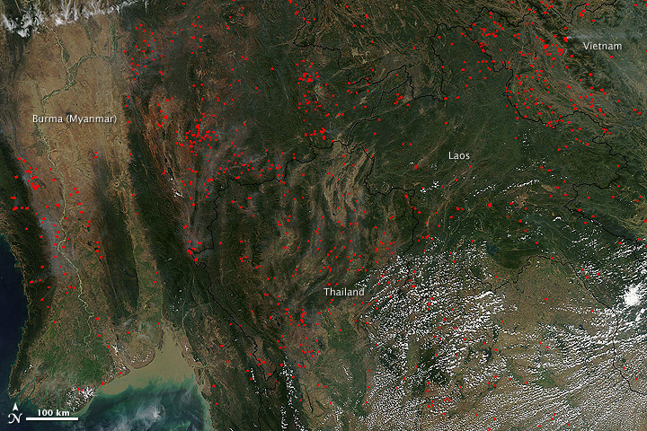 Fires in Burma, Thailand, Laos, and Vietnam