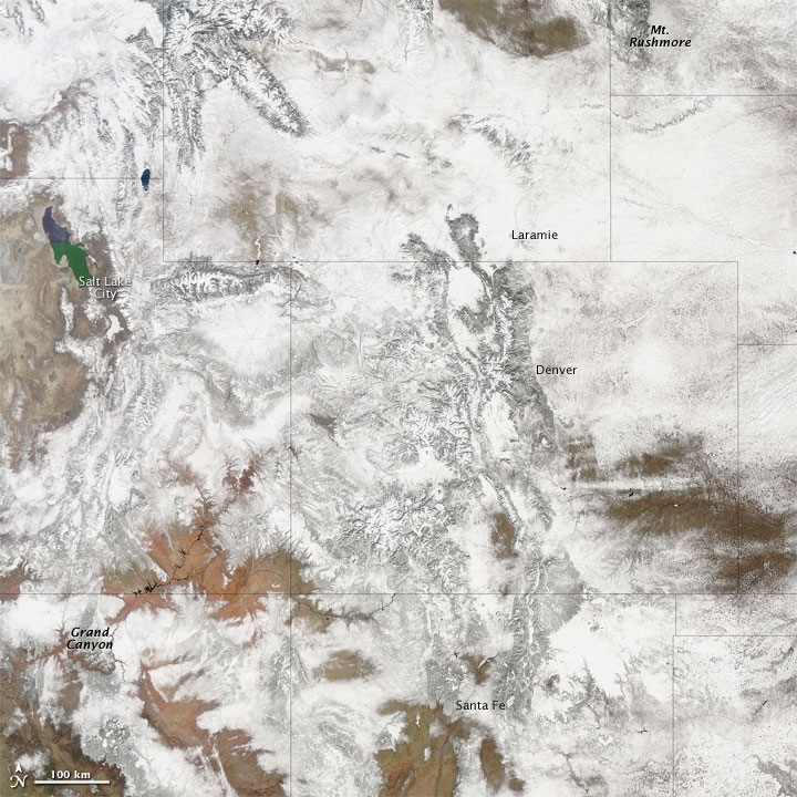 Snow Blankets the Rocky Mountains
