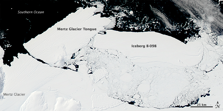 Collision Calves Iceberg from Mertz Glacier Tongue, Antarctica