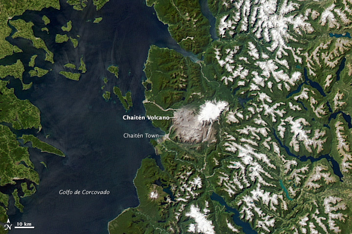Chaiten Volcano and the Surrounding Area