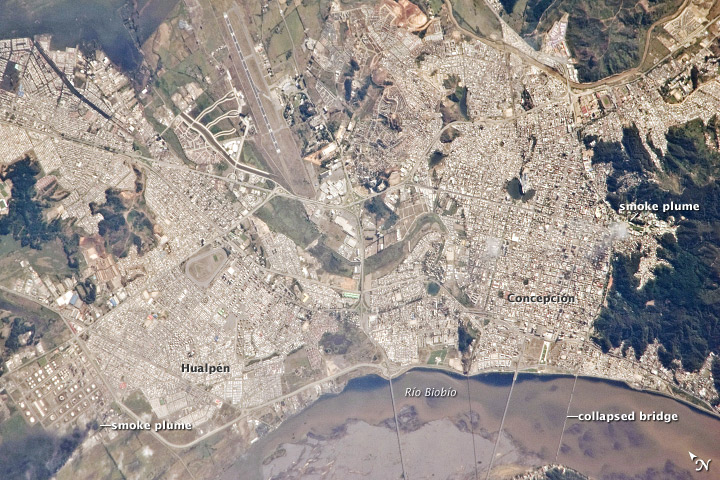 Smoke Plumes over Concepcion, Chile, Following Large Earthquake