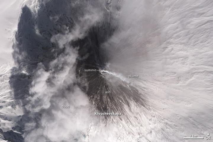 Ash Covers Klyuchevskaya Volcano