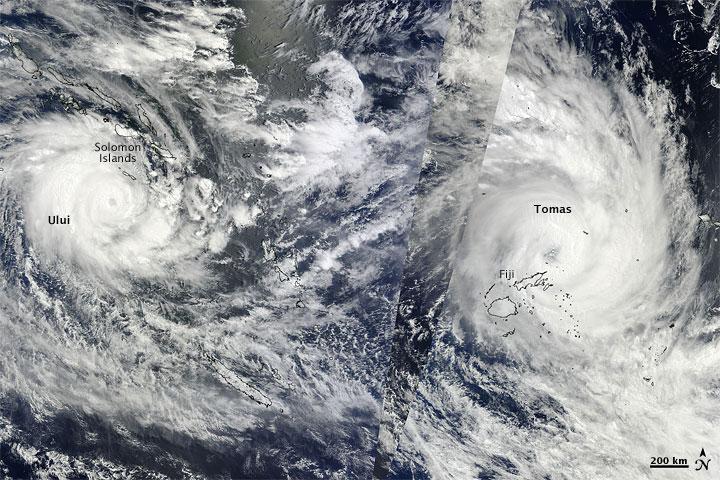 Tropical Cyclones Tomas and Ului