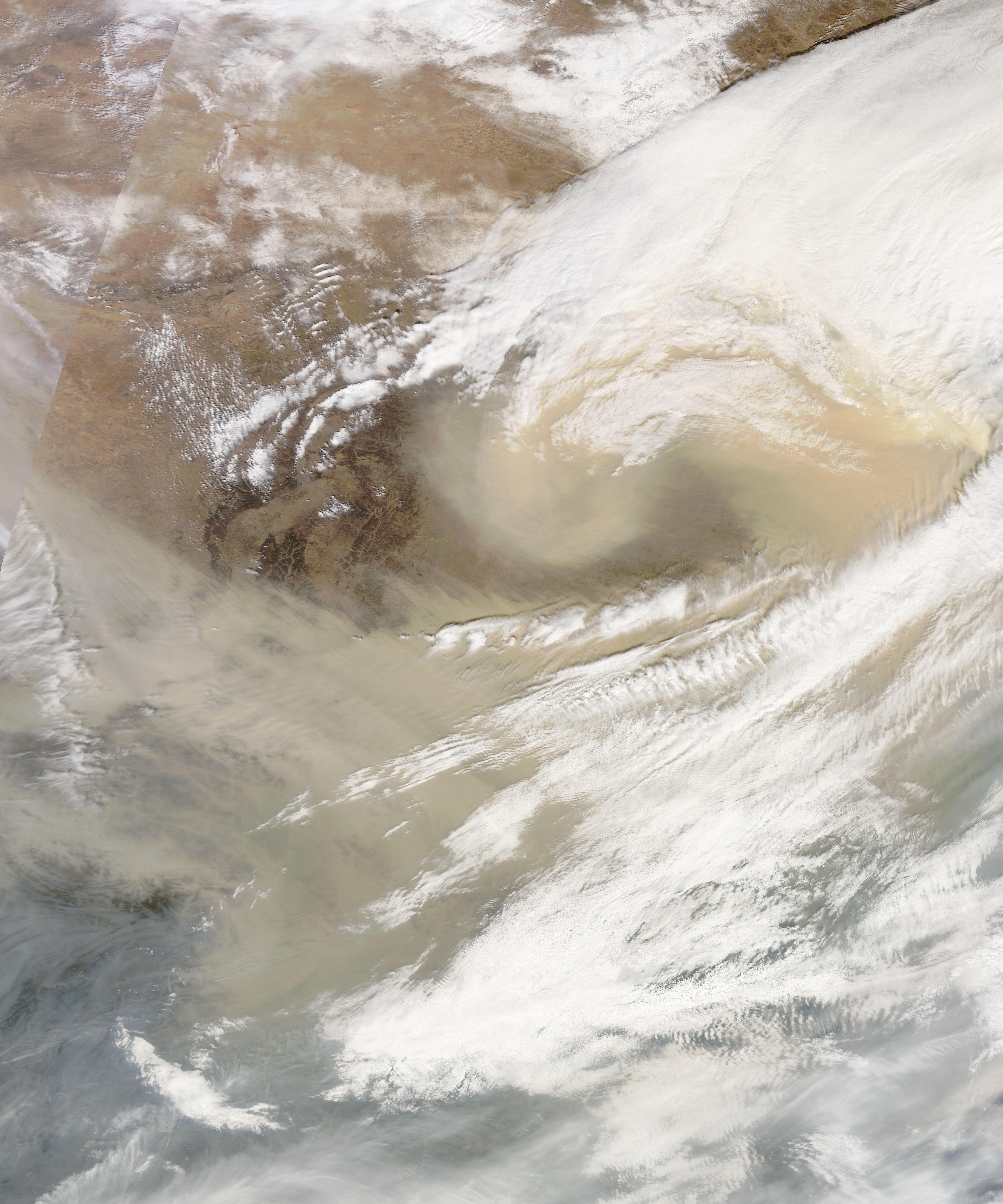 spring sandstorm scours china natural hazards