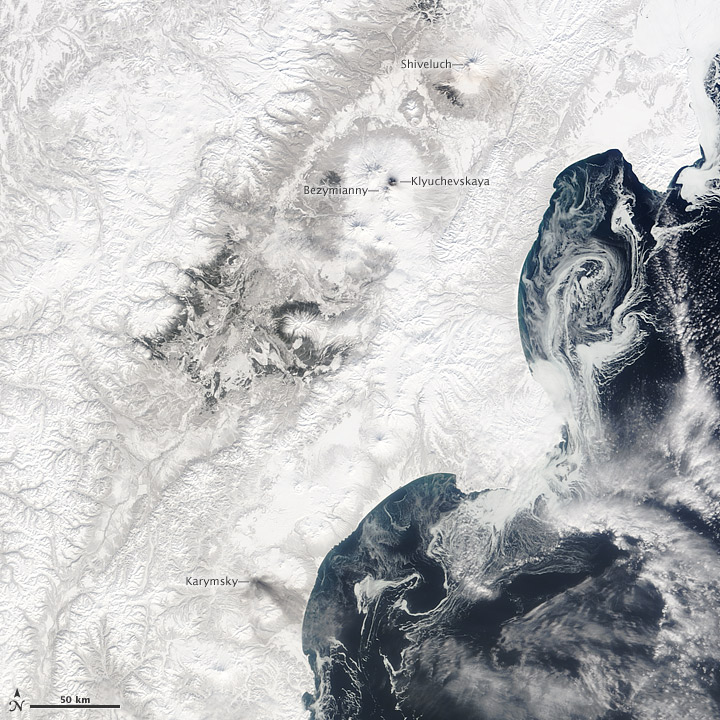 Four Erupting Kamchatka Volcanoes
