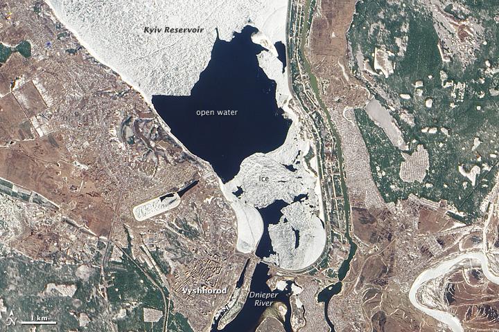 Spring Ice Breakup on Dnieper River, Ukraine