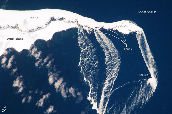 Ice Floes off the Northeastern Tip of Urup Island, Russia