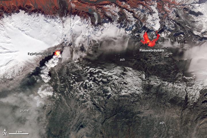 Hot spots on Iceland's Eyjafjallajökull Volcano