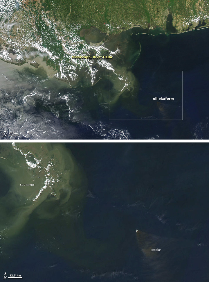 Smoke Plume from Burning Oil Rig in Gulf of Mexico